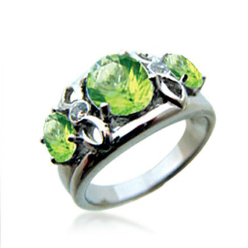 Fantastic rare green stone silver bijoux cat ears ring