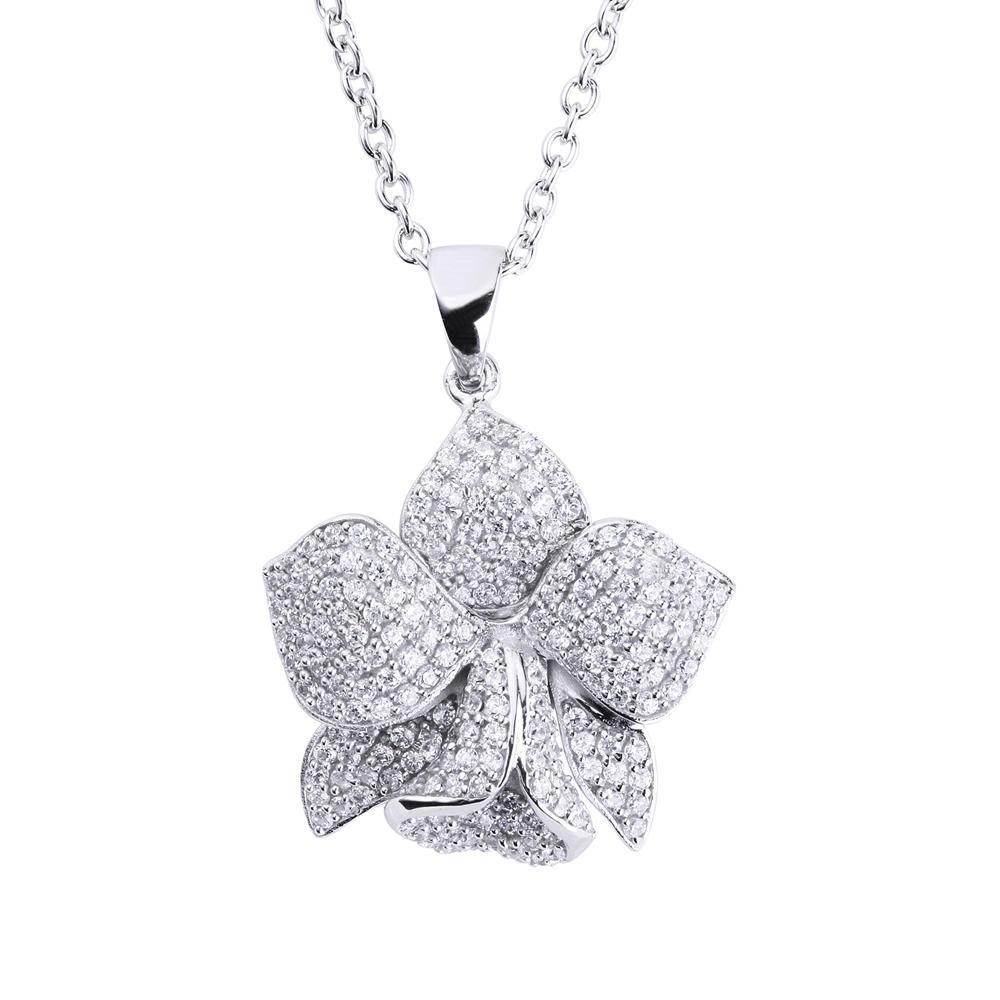 925 Silver Orchid Flower Blooming Semi-Precious Stone Pendants