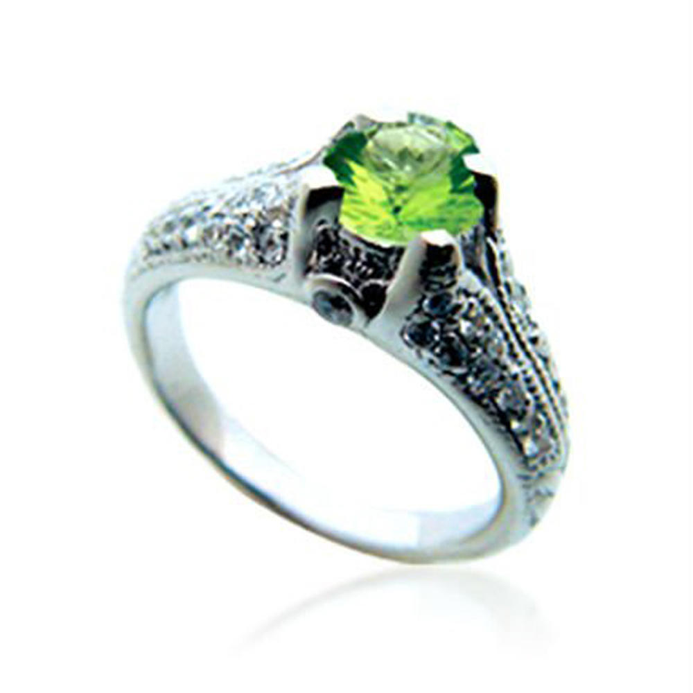 Fancy Green Color Stone Music Note Engagement Ring