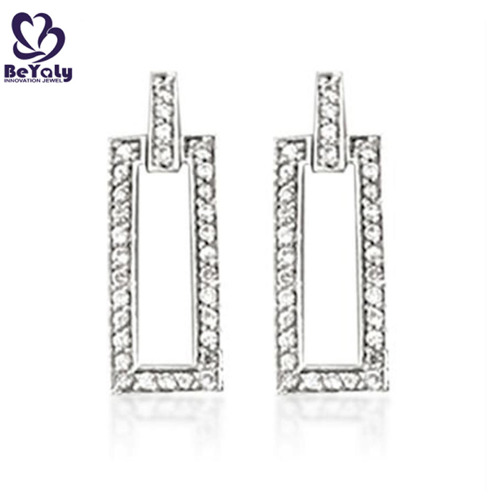 Fashion sterling silver jewelry hollow rectangle cz earrings