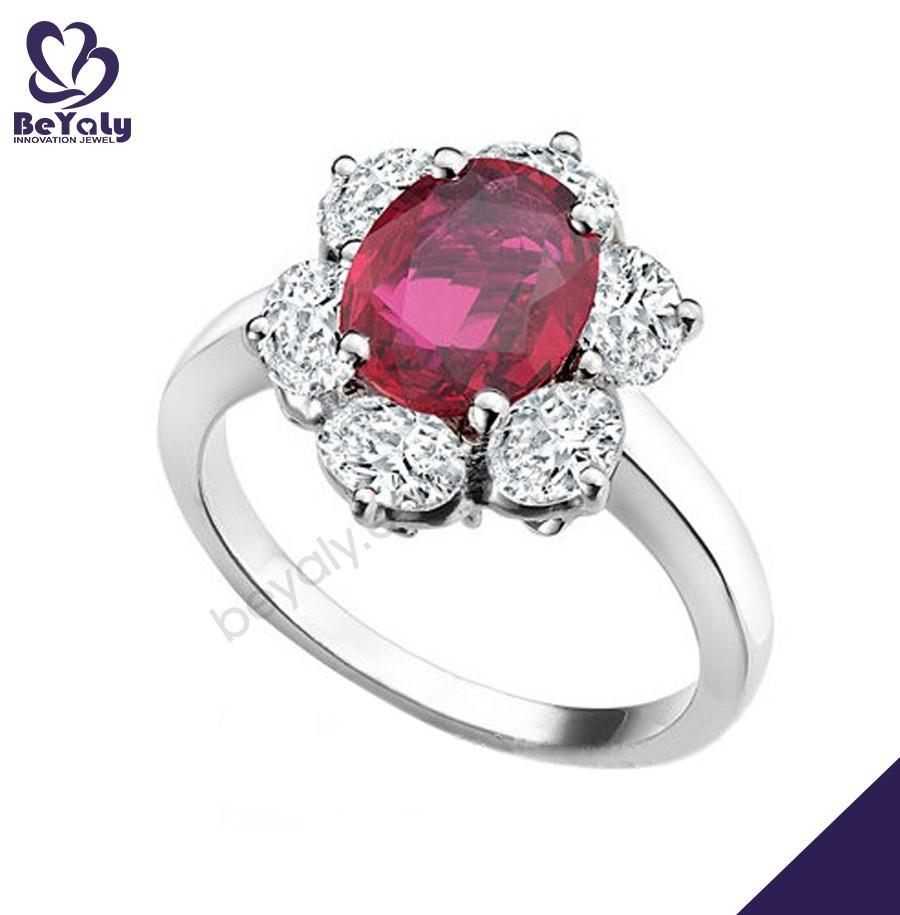 Pink stone flower silver diamond handmade ring jewelry wholesaler