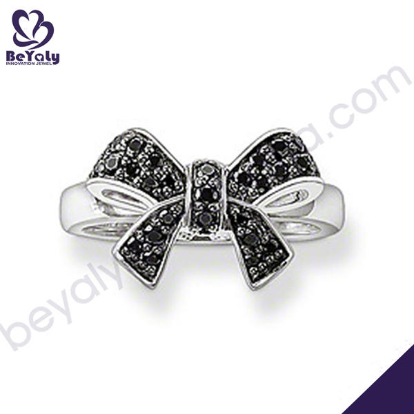 Cute bowknot black onyx 3 carat diamond solitaire ring