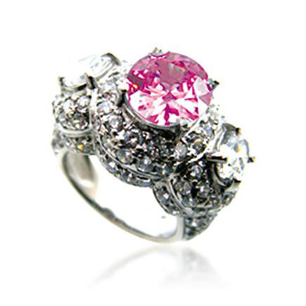 Pink gemstone jewelry wholesale pave diamond snake silver rings