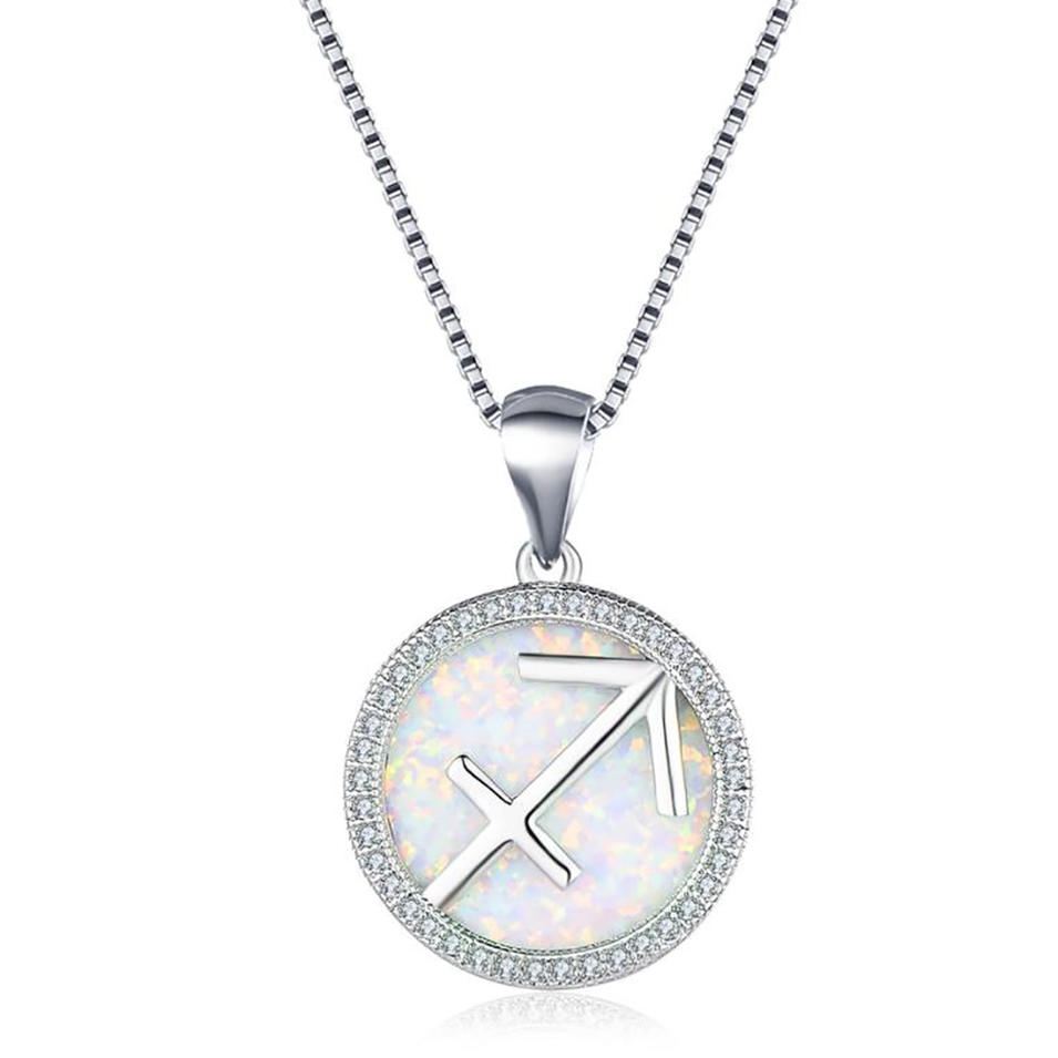 Fashion Silver Sagittarius Zodiac Sign Necklace With Cz