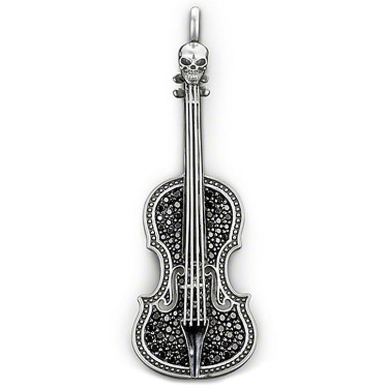 Black stone violin shape silver latest jewelry set