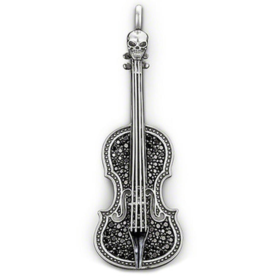 Black stone violin shape silver latest jewelry set