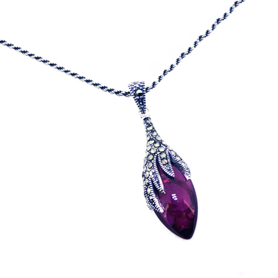 Delicate for lady violet stone druzy pendants wholesale