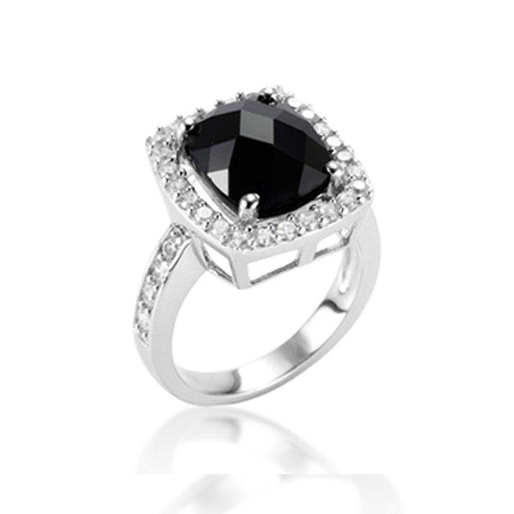 Wholesale black stone elegant men's silver ring design