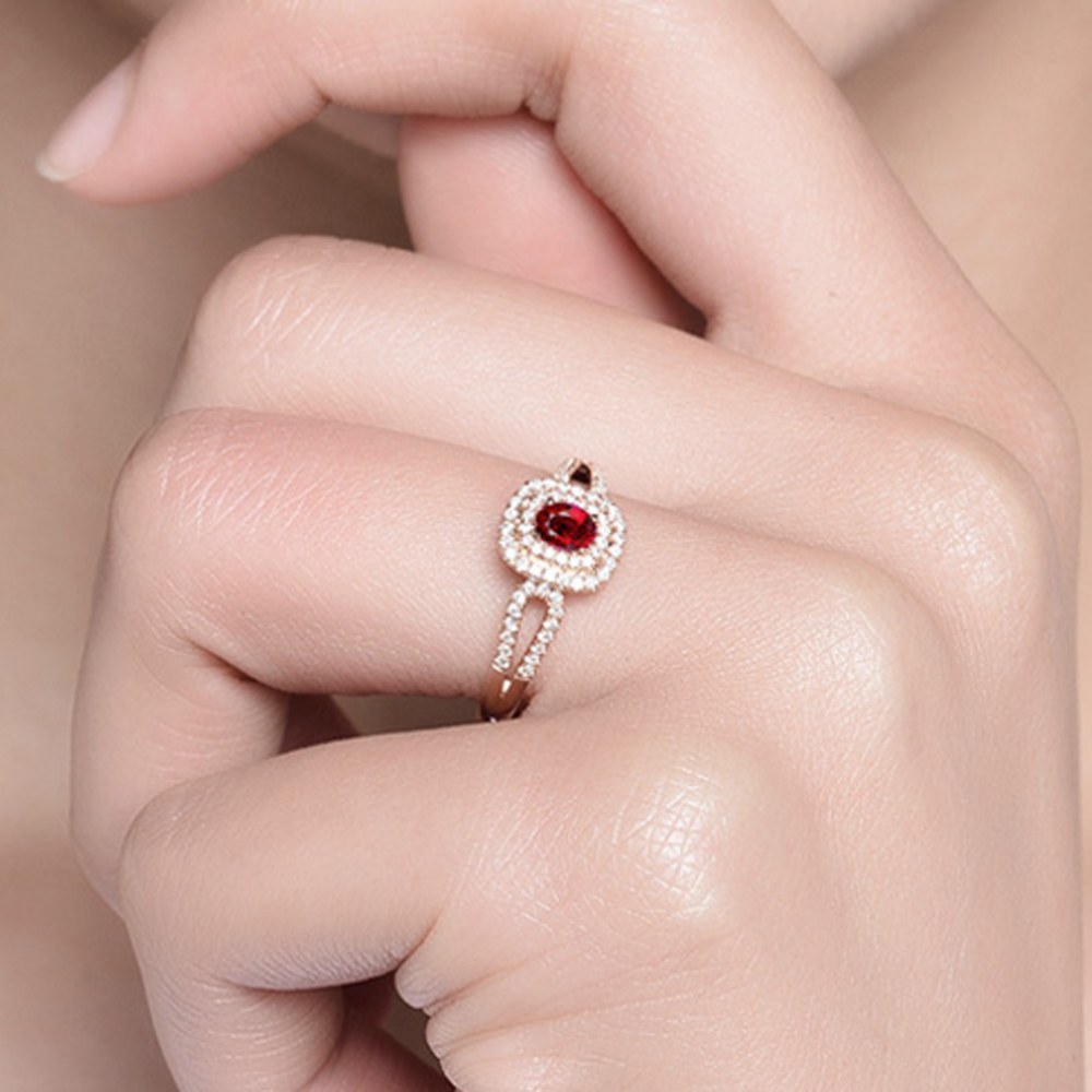 Colorful stone gold plated silver cheap ruby rings