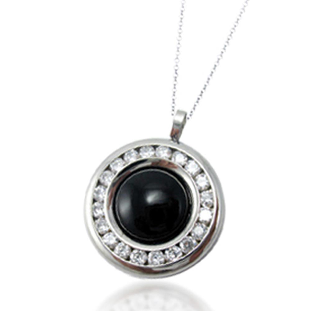 Black stone stainless steel scalar quantum pendant engravable