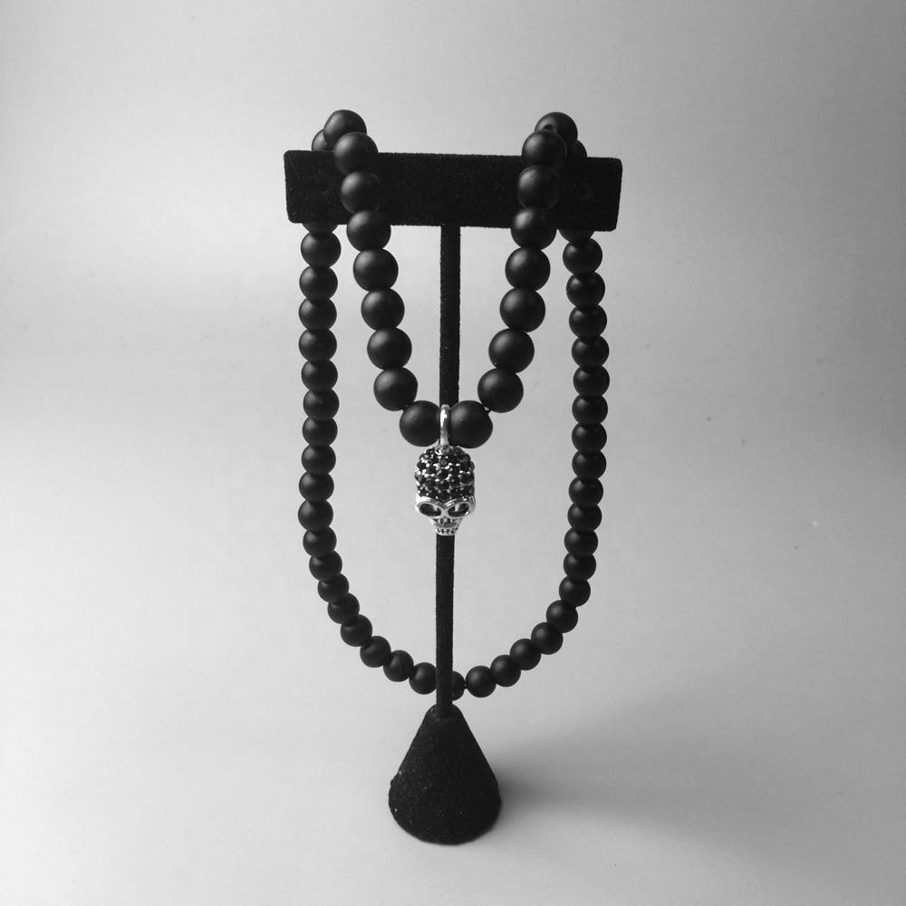 New Black Cz Charm Necklace Silver Skull Obsidian Beads Jewelry