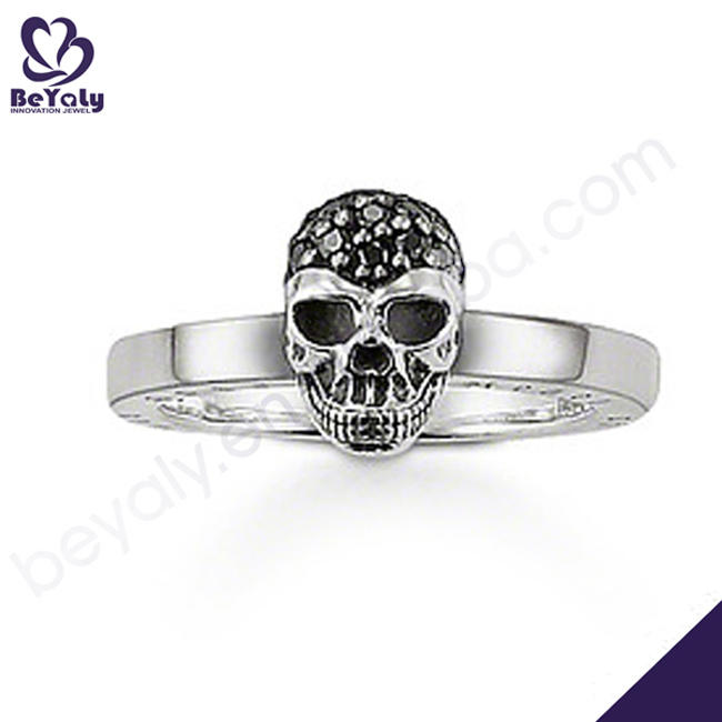 High end skull design 925 silver rings jewelry black stone