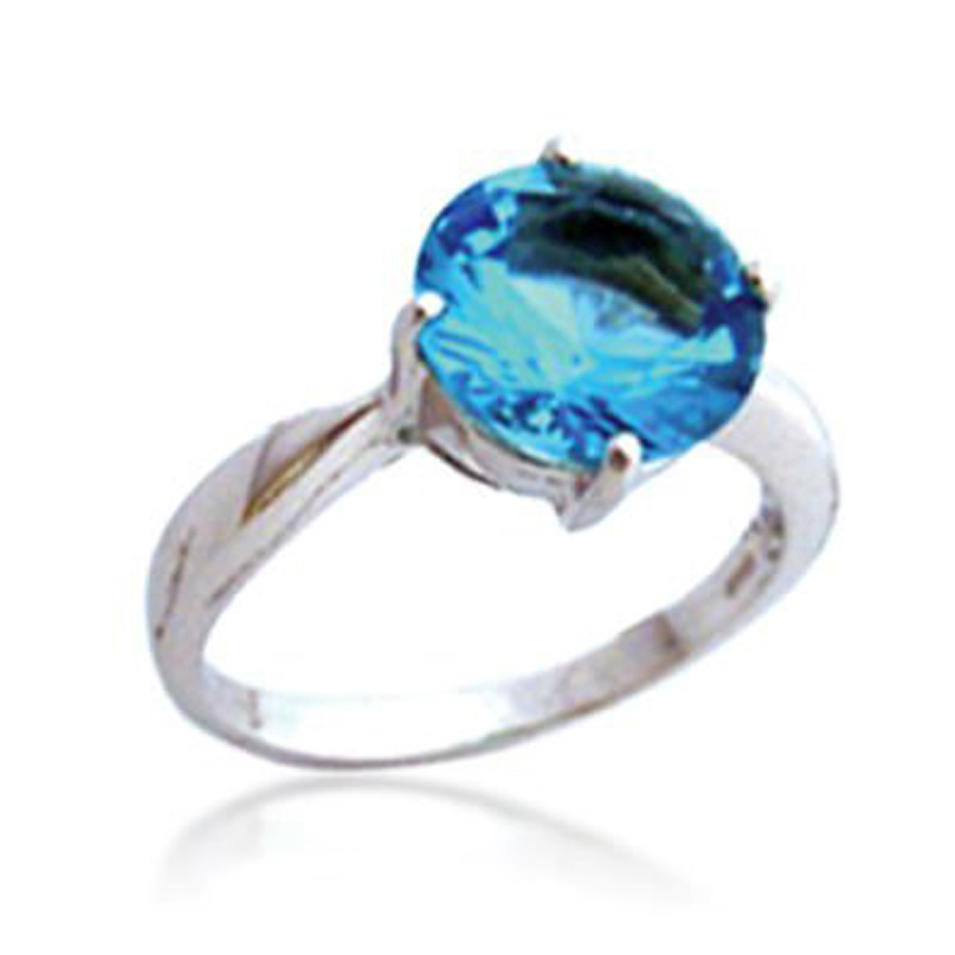 Simple aquamarine crystal stone silver diamond dress rings
