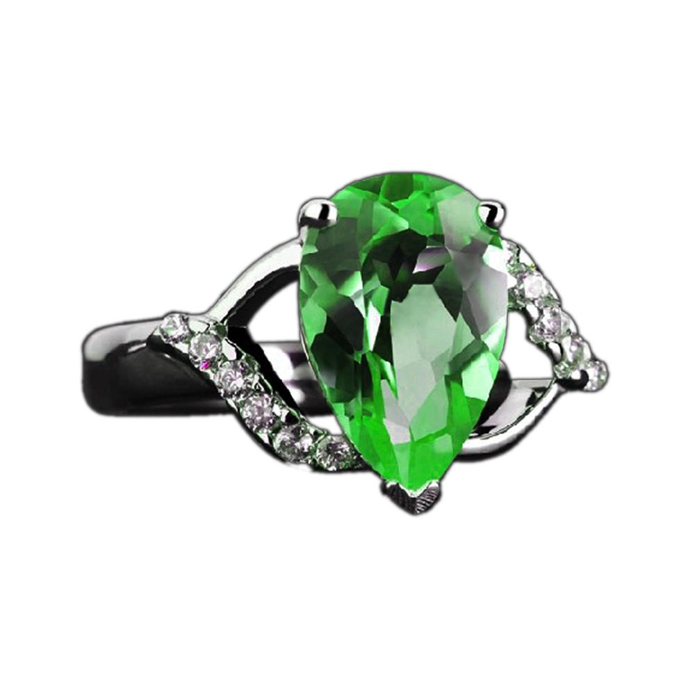 High Quality Cubic Stone Silver Handmade Finger Mens Emerald Rings