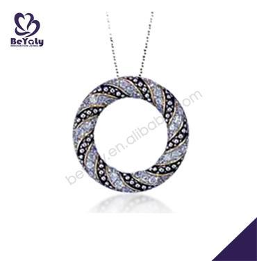 Refined circle design wholesale silver cz stone jewellery set