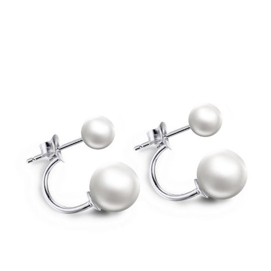 Double ended cz ball 925 silver pearl stud earrings