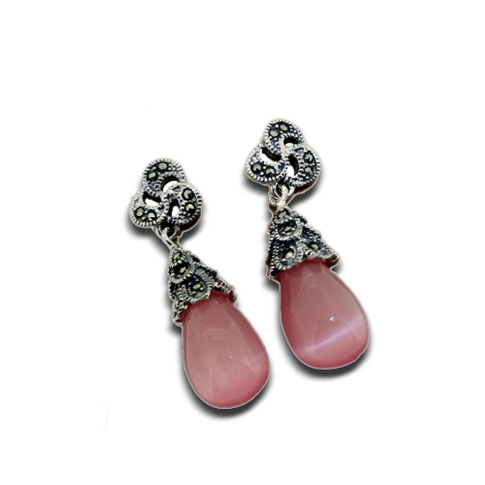 Best seller vintage style wholesale silver pink stone drop earring