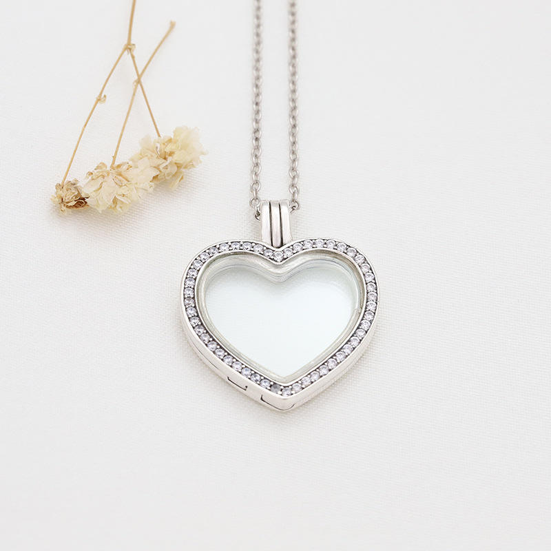 AAA CZ Pave Set Silver Heart Shaped Photo Frame Pendant