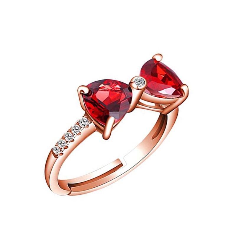 Bowknot Design Garnet Gemstone Jewelry 18K Gold Twins Diamond Rings