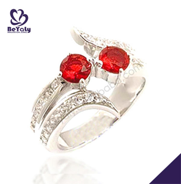 AAA cubic red stone silver jewelry tanzanite white gold ring