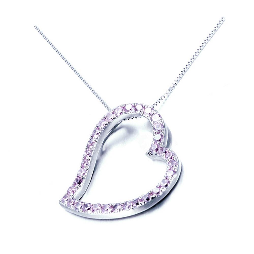 Pink cz set heart silver sublimation blanks pendants