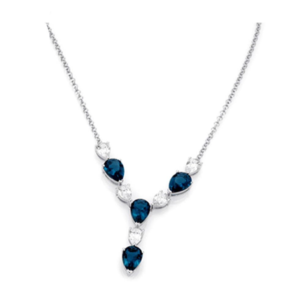 High Quality Blue Stone Crystal Avenue Necklace Jewelry Wholesale