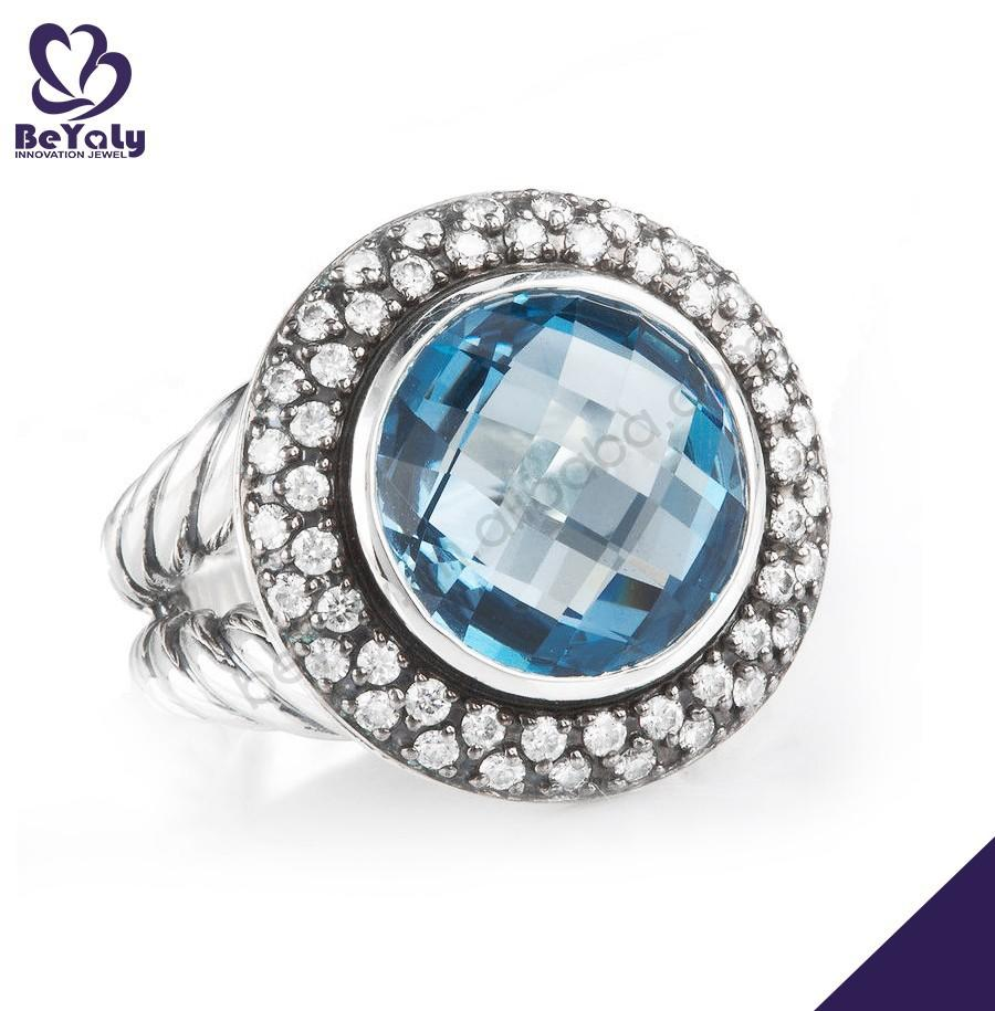 Blue stone round shape 925 sterling silver marcasite ring