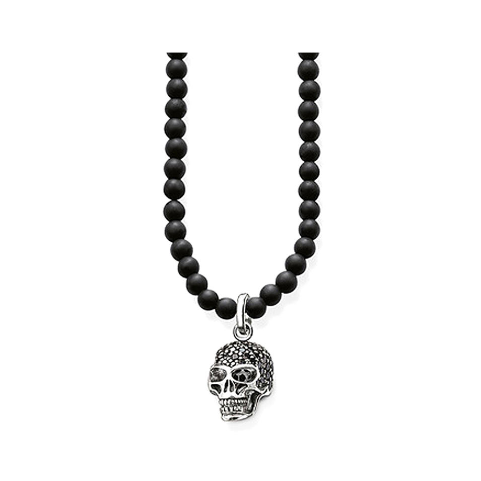 New Black Cz Charm Necklace Silver Skull Obsidian Beads Jewelry