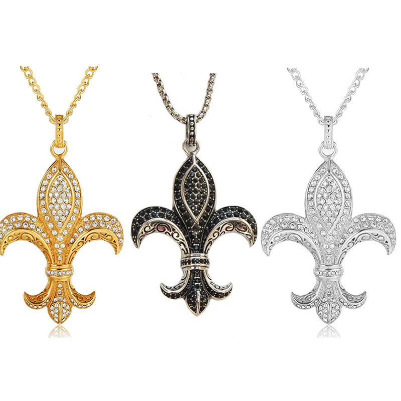 Black Cz Stone Fleur De Lis Ladies Accessories Necklace Jewelry