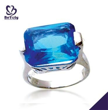 Blue topaz wholesale shiny 925 silver ring with opal stone