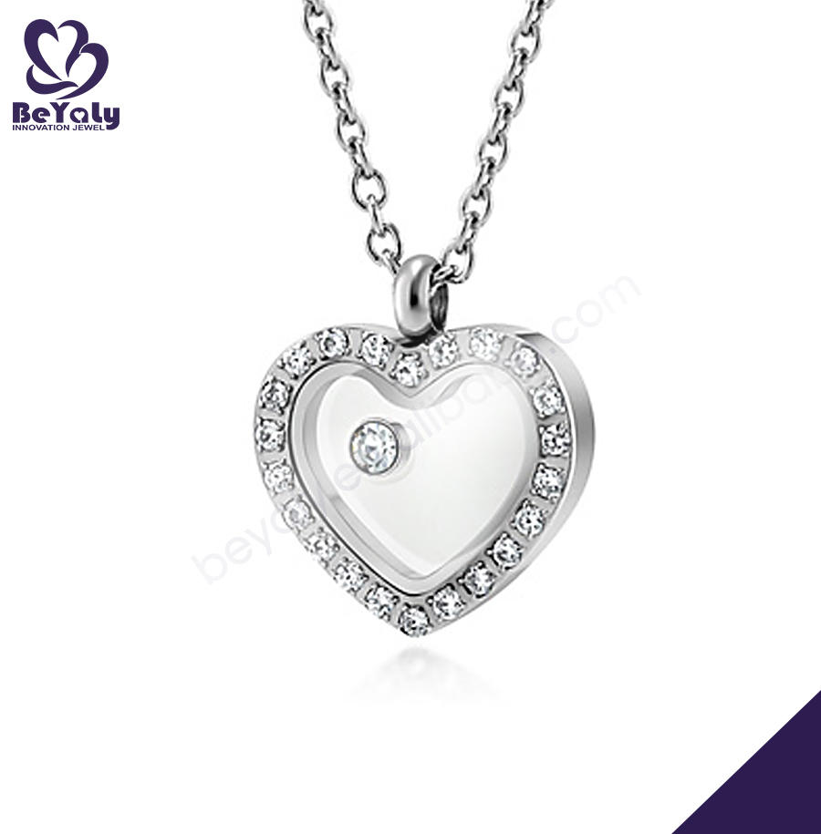 Heart Shape Design Cz Fashion Photo Locket Pendants