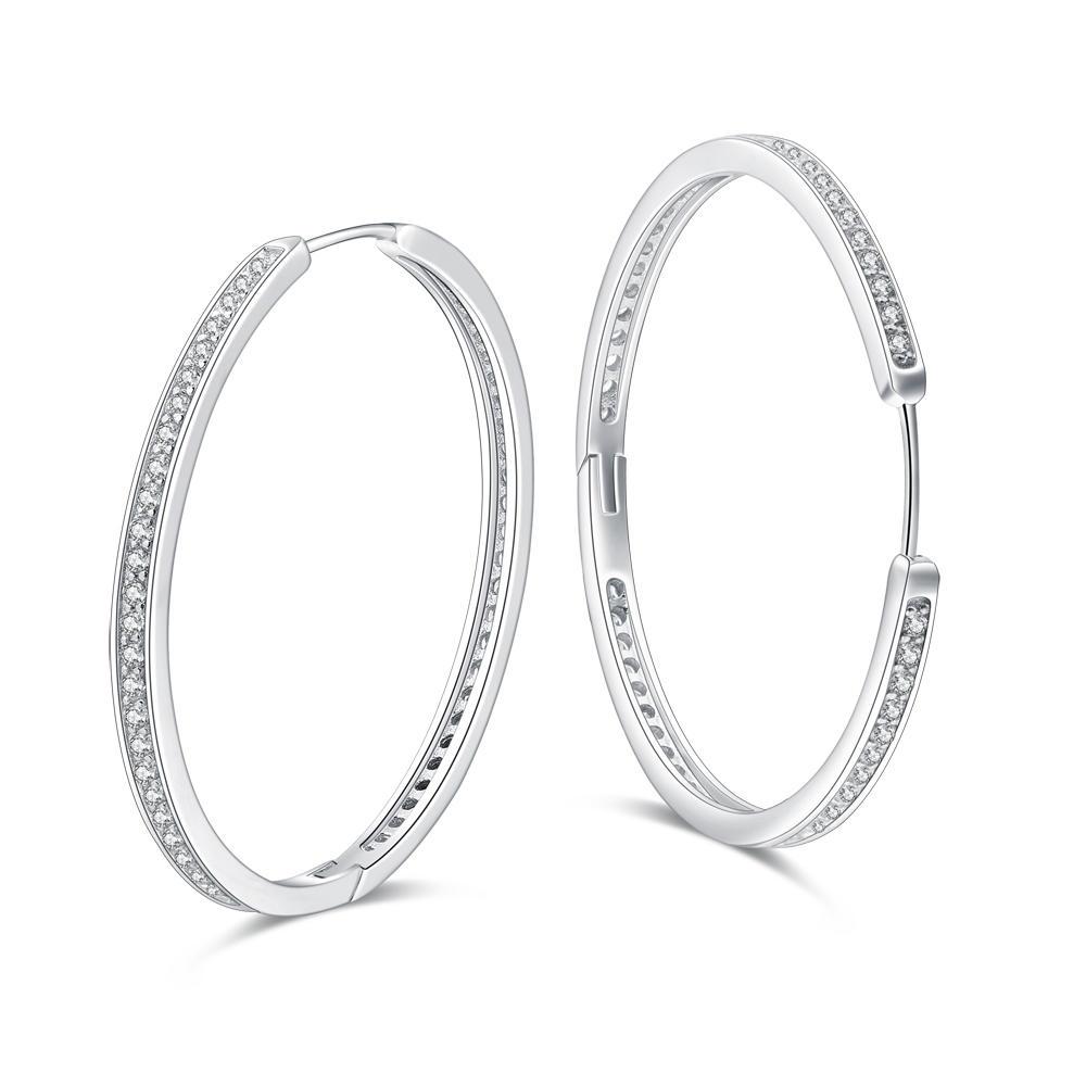2020 Latest Model Cz Inlaid Silver Fashion Hoop Earrings