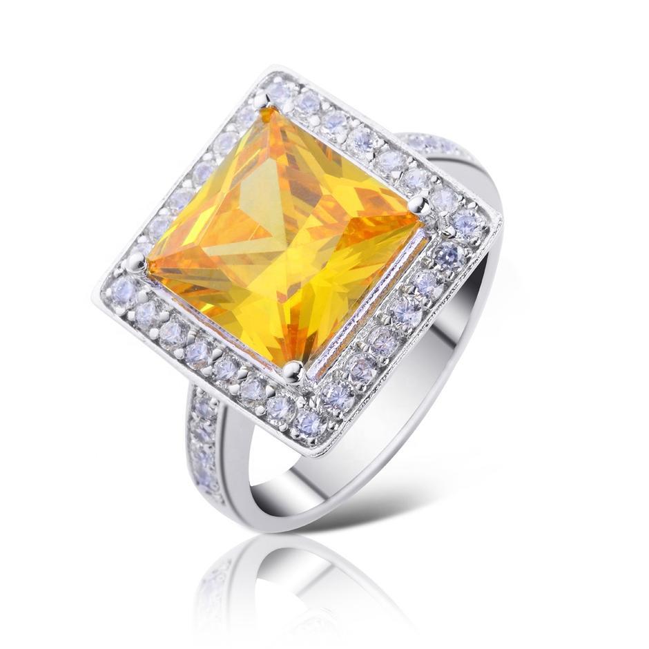 Square Design Yellow Stone Silver Bijoux 925 Rings