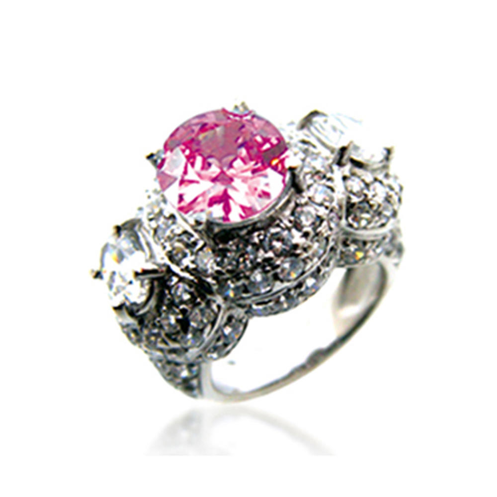 Pink gemstone jewelry wholesale pave diamond snake silver rings