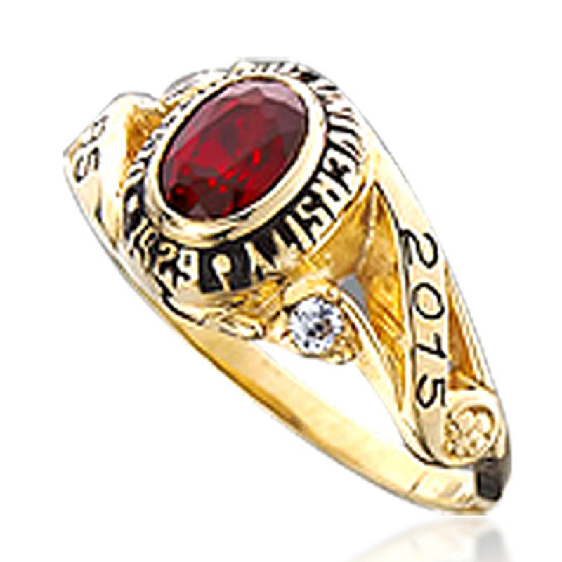 Red Gemstone Graduation 18K Gold Plated 925 Silver Single Stone Rings