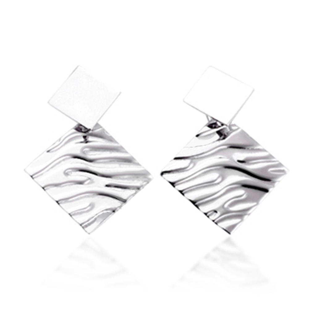 2019 new model cz inlaid rhombus silver stick on earrings for adults