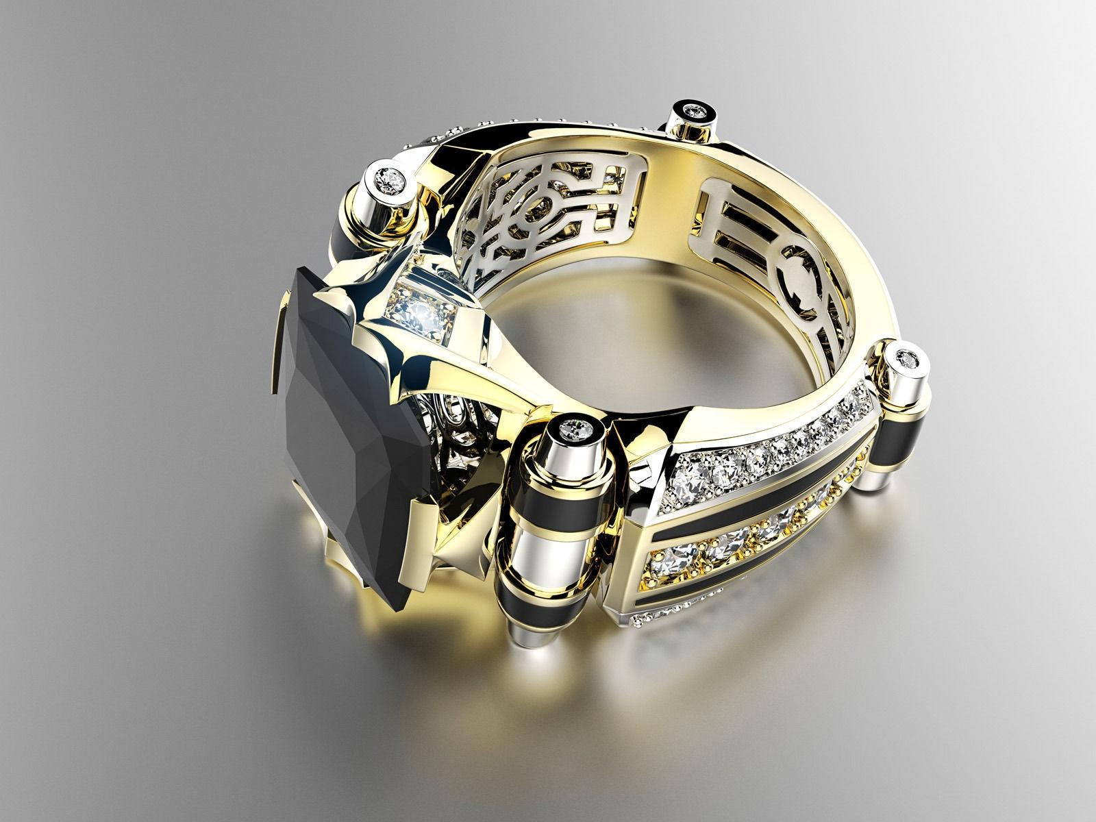 Male Style Gemstone Engagement Ring Separations Electroplated