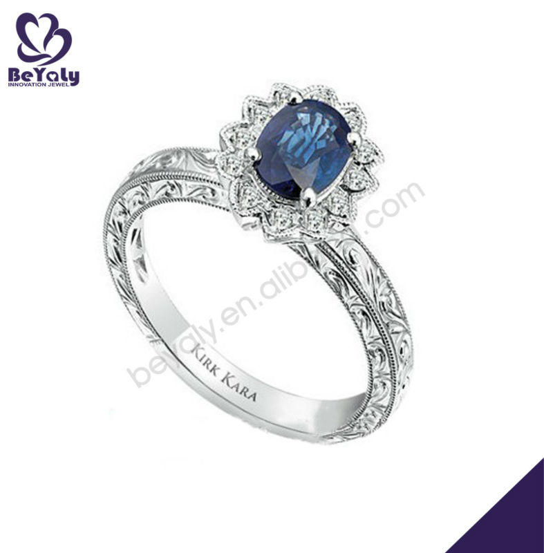 Romantic blue rose cut pave setting diamond wedding ring jewelry