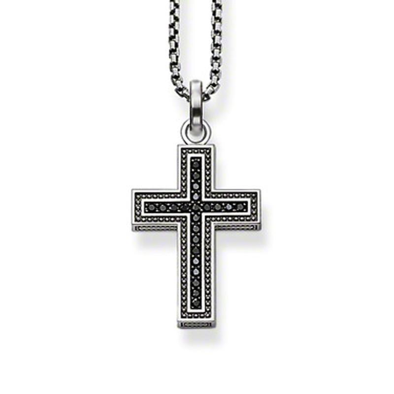 Cross With Black Cz Silver Mens Diamond 925 Silver Jewelry