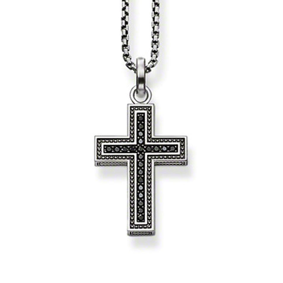Cross With Black Cz Silver Mens Diamond 925 Silver Jewelry