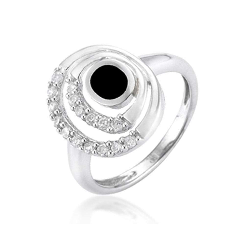 Yin Yang design engagement diamond luxury silver stackable rings