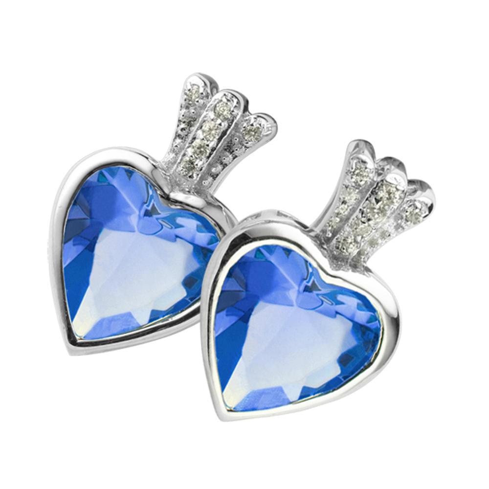Yellow topaz cz inlaid retail girls love silver heart earrings