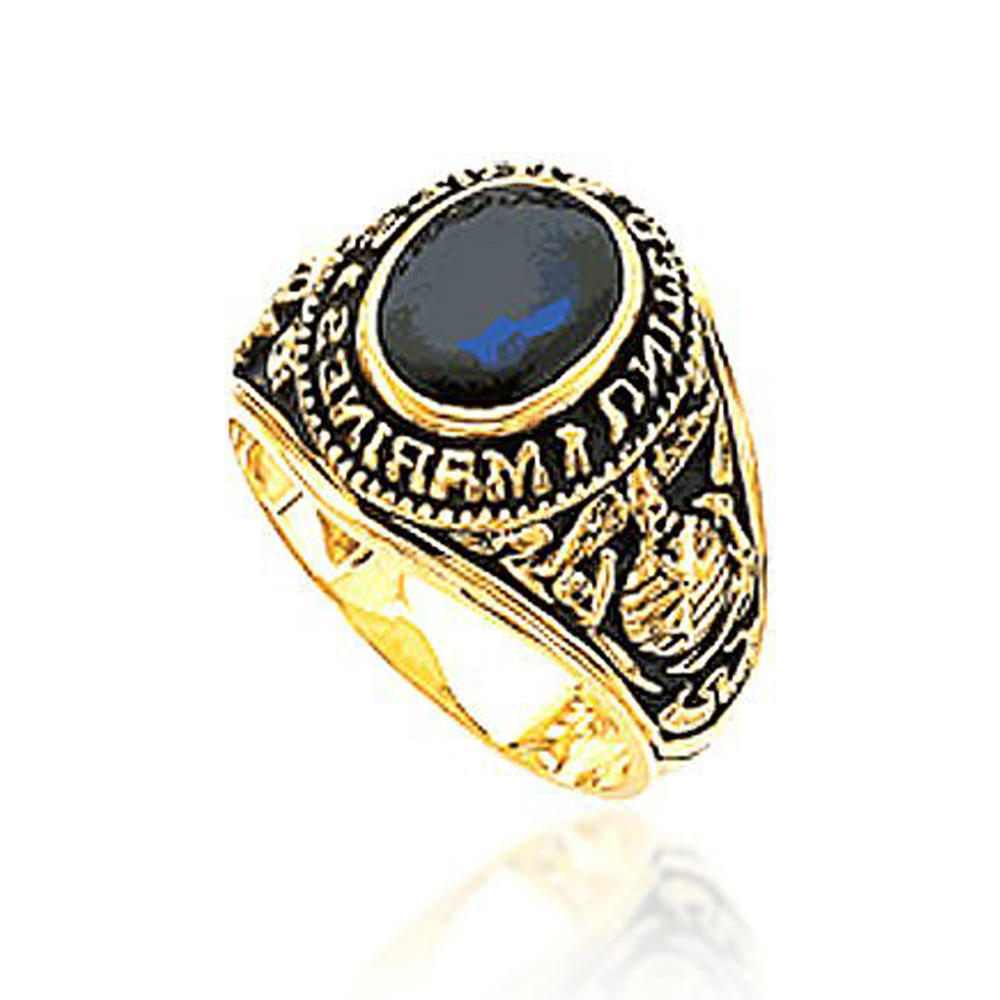 Gold plating American marines blue fire opal rings