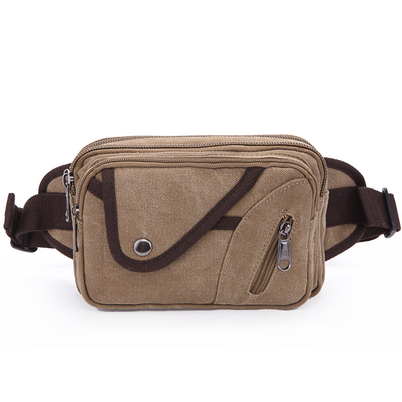 Men's canvas sling bag cellphone ID credit card money cash passport holder fanny pack waist bags