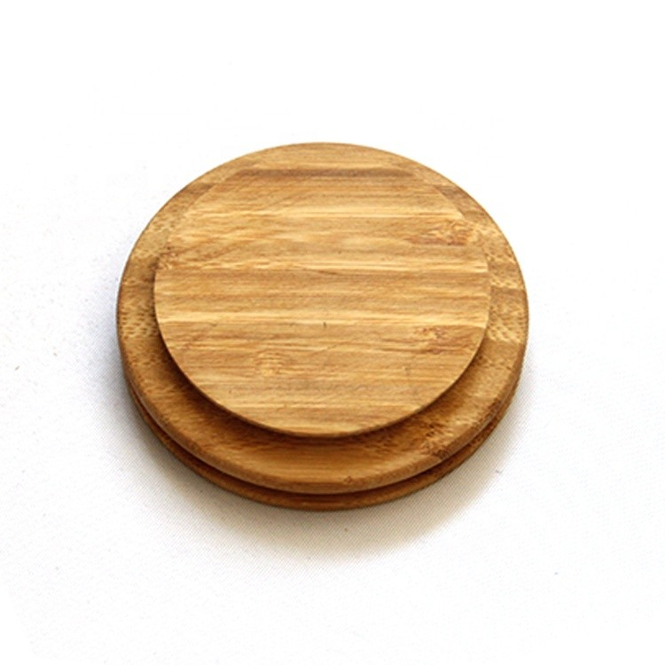 High quality customized round shape natural solid bamboo wood,custom wood lid for glass candle holder jar with silicone ring