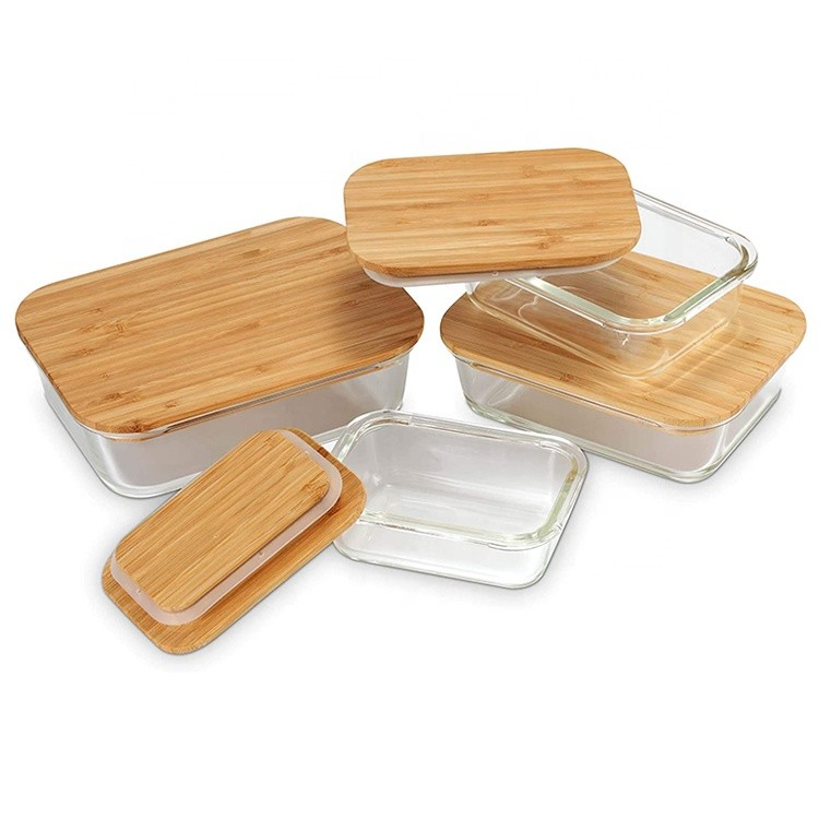 Ecofriendly Glass Storage Food Containers with Sustainable Bamboo lids