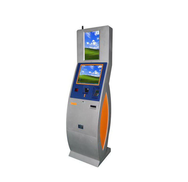 Customized dual touch screen card dispenser kiosk for vending in shopping mall