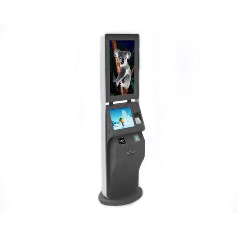Dual screen advertising display payment kiosk for self payment with RFID barcode printer