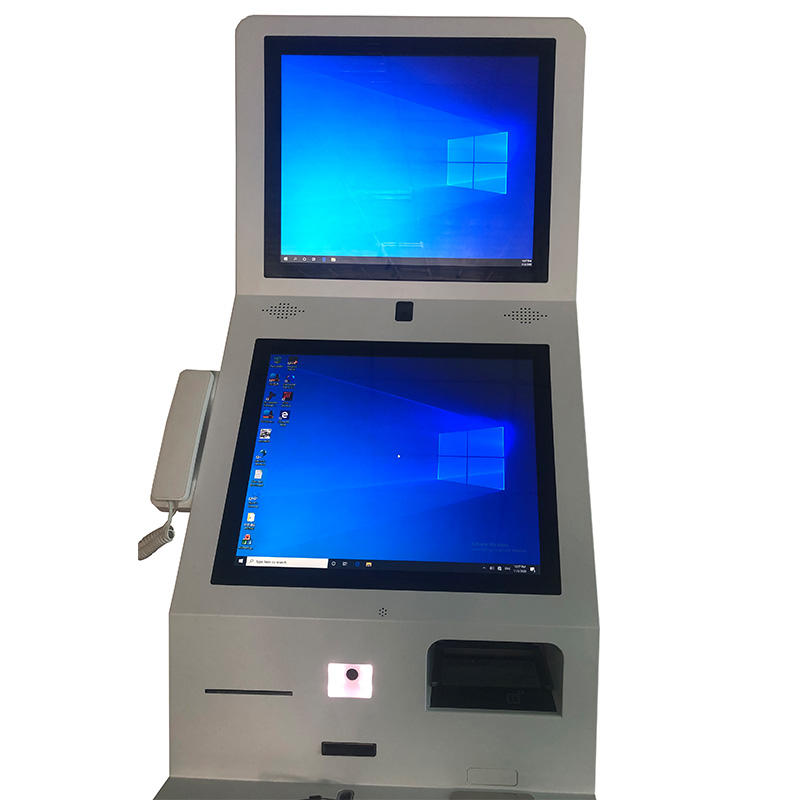 Dual Screen Check In And Check Out Self Service Kiosk , Credit Card Payment Kiosk With Passport Scanner
