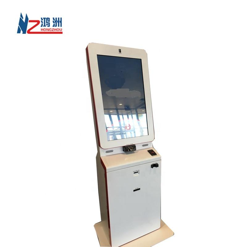 Stand alone cash and card payment kiosk in hospital with camera and printer